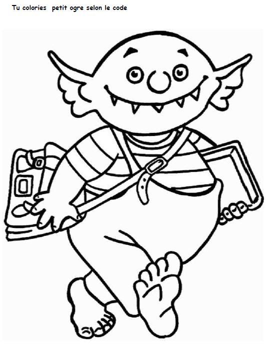 Le petit ogre veut aller l cole le partage c 39 est - Coloriage domino ...